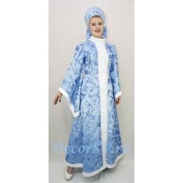 Новогодний костюм Снегурочки из жаккардовой ткани. Шубка и высокий кокошник.