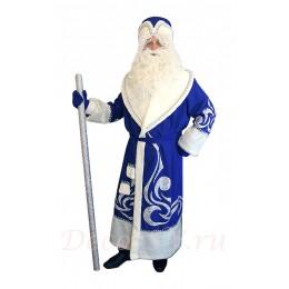 Новогодний костюм Деда Мороза с искусственным мехом синий- Комплект: шуба, пояс, шапка, варежки (без бороды и мешка).