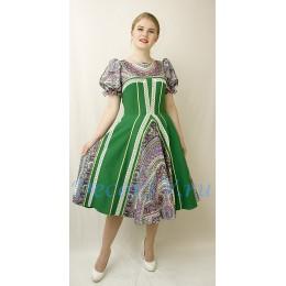 """Платье с подъюбником танцевальное в русском стиле с рисунком """"Платок"""". Цвет зеленый."""