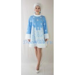 Новогодний костюм Снегурочки: шубка меховая и кокошник - шапочка.