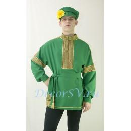 Рубаха русская народная. Цвет зеленый.