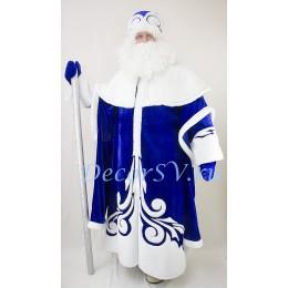 Новогодний костюм Деда Мороза из СИНЕГО бархата и искусственного меха. Шуба, шапка, варежки (без бороды).