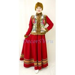 Зимний народный костюм: душегрея, юбка и шапка-косынка на голову.