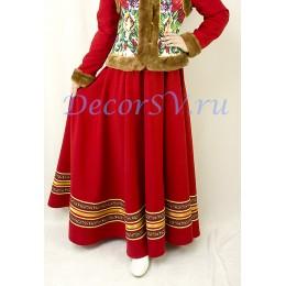Юбка покроя полное солнце для народного костюма. Цвет темно-красный.