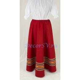 Юбка для народного костюма. Цвет темно-красный.