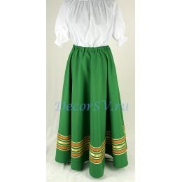 Юбка для народного костюма полу-солнце. Цвет зеленый.