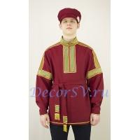 Рубаха русская народная. Цвет бордовый.