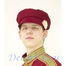 Картуз мужской для русского народного костюма. Цвет бордовый.