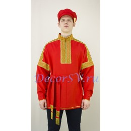 Рубаха русская народная. Цвет красный.