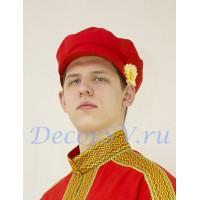 Картуз мужской для русского народного костюма. Цвет красный.