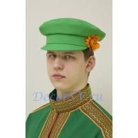 Картуз мужской для русского народного костюма. Цвет светло-зеленый.