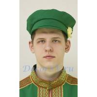 Картуз мужской для русского народного костюма. Цвет зеленый.