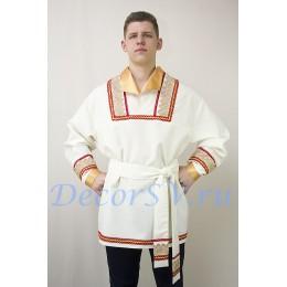 Русская народная рубашка с тесьмой. Цвет светлый беж.