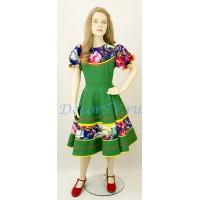 """Детское танцевальное платье с рисунком """"Жостово"""". Цвет зеленый."""