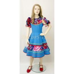 """Детское танцевальное платье с рисунком """"Жостово"""". Цвет голубой."""