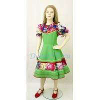 """Детское танцевальное платье с рисунком """"Жостово"""". Цвет салатовый."""