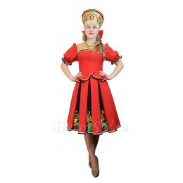 Русский народный костюм: кофта, юбка и кокошник. Цвет красны