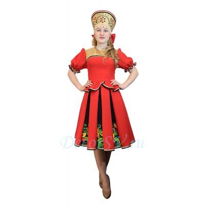 """- """"Русский народный костюм: кофта, юбка и кокошник. Цвет красны"""" от производителя DecorSV. (Артикул: РНП-27 )"""