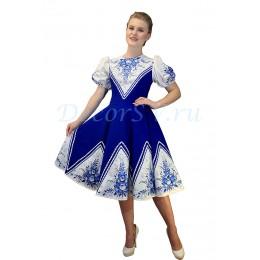 """Русское народное платье с рисунками в стиле """"Гжель"""""""