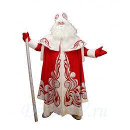 Новогодний костюм Деда Мороза из красного плотного материала на подкладке и искусственного меха. Шуба, шапка, варежки (без бороды).