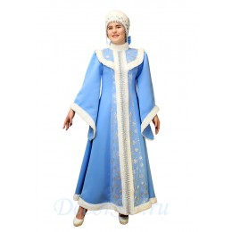 Новогодний костюм Снегурочки со снежинками и мехом: платье и меховой кокошник-шапочка.