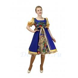 """Платье для танца в народном стиле  с  рисунком """"Платок"""". Цвет синий."""