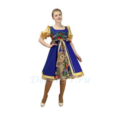 """- """"Платье для танца в народном стиле  с  рисунком """"Платок"""". Цвет синий."""" от производителя DecorSV. (Артикул: РНП-458 )"""