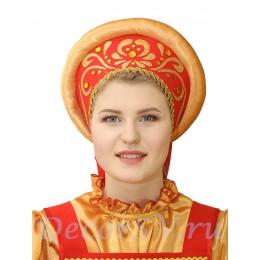 Русский народный кокошник с аппликацией. Цвет красный.