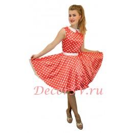 Платья Стиляги с пышной юбкой. Цвет красный.