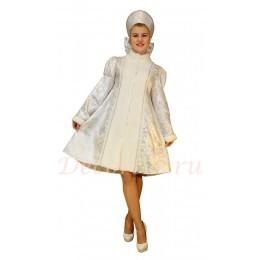 Новогодний костюм Снегурочки из парчи с мехом. Шубка короткая и кокошник из парчи.