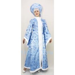 Новогодний костюм Снегурочки из жаккардовой ткани. Шубка и кокошник с бусами.