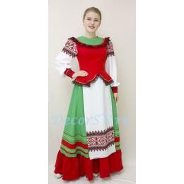 Казачий женский костюм. Костюм состоит: блузка, юбка, шлычка на волосы.