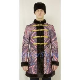 Косоворотка мужская утепленная и шапка на подкладке. Цвет сливовый.