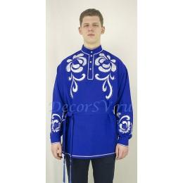 Рубашка мужская народная с аппликацией. Цвет синий.