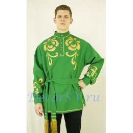 Рубашка мужская народная с аппликацией. Цвет зеленый.
