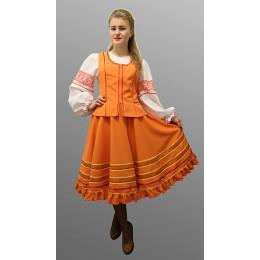 """Русский народный костюм """"Казачий"""": блузка, жилетка, юбка. Цвет оранжевый"""