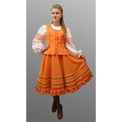 """- """"Русский народный костюм """"Казачий"""": блузка, жилетка, юбка. Цвет оранжевый"""" от производителя DecorSV. (Артикул: РНП-38 )"""