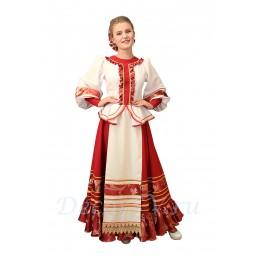 Казачий костюм женский. Костюм состоит: блузка, красная юбка, шлычка на волосы.