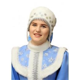 Кокошник-шапочка из меха для костюма Снегурочки.