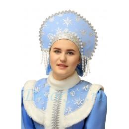Кокошник для костюма Снегурочки с бусами со снежинками.