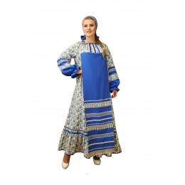 Русский народный костюм: платье с фартуком и повязка на голову. Цвет голубой
