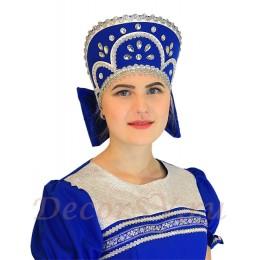 Кокошник с камнями к костюму. Цвет синий.