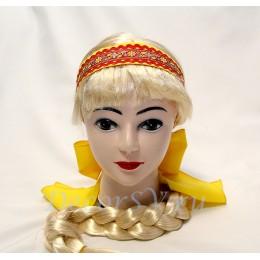 Повязка на голову с бантом желтая.