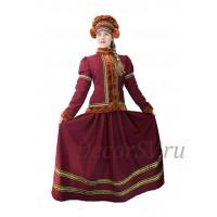 Русский народный костюм утепленный (жакет+юбка+шапка). Цвет бордовый.