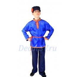 Русская народная рубашка с тесьмой синяя атласная.