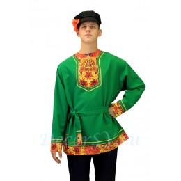 """Рубашка русская народная с рисунком """"Хохлома"""". Цвет зеленый."""