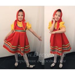 Детский танцевальный костюм: красный сарафан + желтая блузка + красная косынка.