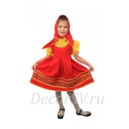 Детский народный костюм: красный сарафан + желтая блузка + красная косынка.