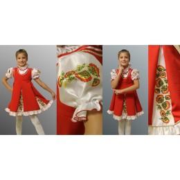 """Детский народный костюм в стиле """"Хохлома"""": блузка + сарафан. Красный."""