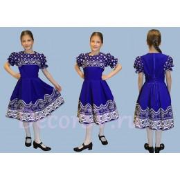 Платье детское в русском стиле синее.